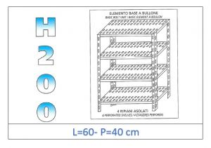 IN-4706040B Shelf with 4 slotted shelves bolt fixing dim cm 60x40x200h