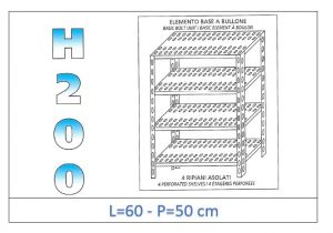 IN-4706050B Scaffale a 4 ripiani asolati fissaggio a bullone dim cm 60x50x200h