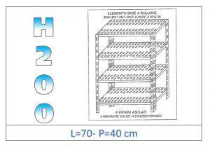 IN-4707040B Scaffale a 4 ripiani asolati fissaggio a bullone dim cm  70x40x200h