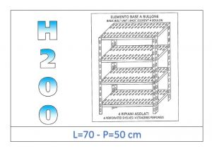 IN-4707050B Shelf with 4 slotted shelves bolt fixing dim cm 70x50x200h