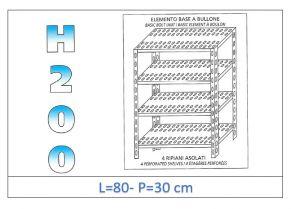 IN-4708030B Scaffale a 4 ripiani asolati fissaggio a bullone dim cm 80x30x200h