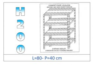 IN-4708040B Shelf with 4 slotted shelves bolt fixing dim cm 80x40x200h