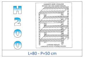 IN-4708050B Scaffale a 4 ripiani asolati fissaggio a bullone dim cm 80x50x200h
