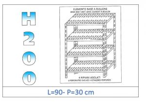 IN-4709030B Shelf with 4 slotted shelves bolt fixing dim cm 90x30x200h