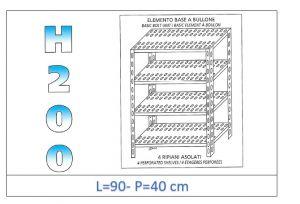 IN-4709040B Scaffale a 4 ripiani asolati fissaggio a bullone dim cm 90x40x200h