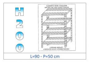 IN-4709050B Scaffale a 4 ripiani asolati fissaggio a bullone dim cm 90x50x200h