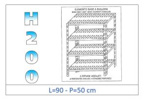 IN-4709050B Shelf with 4 slotted shelves bolt fixing dim cm 90x50x200h