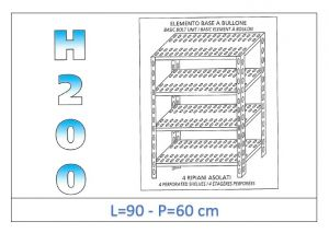 IN-4709060B Shelf with 4 slotted shelves bolt fixing dim cm 90x60x200h