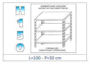 IN-B36910030B Shelf with 3 smooth shelves bolt fixing dim cm 100x30x150h