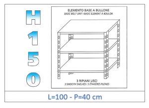 IN-B36910040B Scaffale a 3 ripiani lisci fissaggio a bullone dim cm 100x40x150h