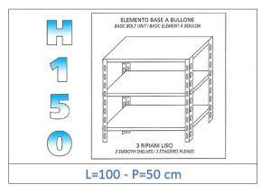 IN-B36910050B Scaffale a 3 ripiani lisci fissaggio a bullone dim cm 100x50x150h