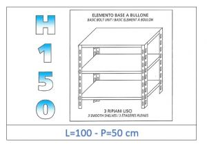 IN-B36910050B Shelf with 3 smooth shelves bolt fixing dim cm 100x50x150h