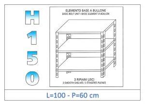 IN-B36910060B Scaffale a 3 ripiani lisci fissaggio a bullone dim cm 100x60x150h