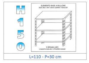 IN-B36911030B Shelf with 3 smooth shelves bolt fixing dim cm 110x30x150h