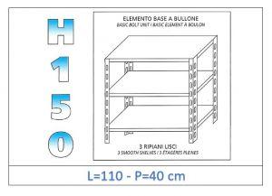 IN-B36911040B Shelf with 3 smooth shelves bolt fixing dim cm 110x40x150h
