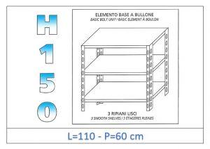 IN-B36911060B Scaffale a 3 ripiani lisci fissaggio a bullone dim cm 110x60x150h