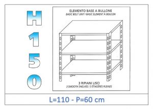 IN-B36911060B Shelf with 3 smooth shelves bolt fixing dim cm 110x60x150h