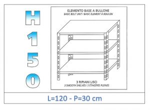 IN-B36912030B Shelf with 3 smooth shelves bolt fixing dim cm 120x30x150h