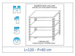 IN-B36912040B Shelf with 3 smooth shelves bolt fixing dim cm 120x40x150h
