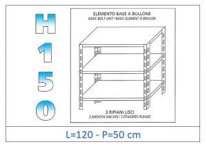 IN-B36912050B Shelf with 3 smooth shelves bolt fixing dim cm 120x50x150h
