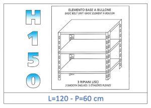 IN-B36912060B Shelf with 3 smooth shelves bolt fixing dim cm 120x60x150h