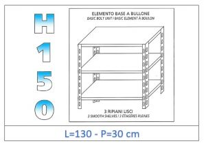 IN-B36913030B Shelf with 3 smooth shelves bolt fixing dim cm 130x30x150h