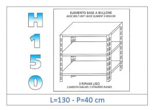 IN-B36913040B Shelf with 3 smooth shelves bolt fixing dim cm 130x40x150h