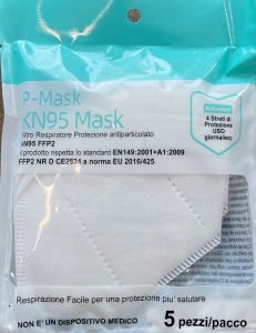 MASK-KN95 Mascherina Bianca P- Mask -  FFP2 - 5 pezzi