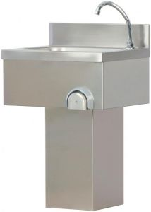 TLC 50 Stainless steel wash basin column with pedal control knee