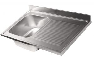 LV6007 Top sink Aisi304 stainless steel dim.1000X600 1 bowl 1 drainer on right