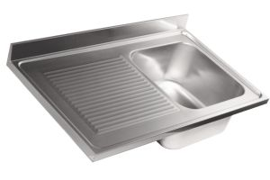 LV6016 Top sink Aisi304 stainless steel dim.1300X600 1 bowl 1 drainer left