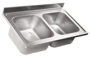 LV6024 Top sink Aisi304 stainless steel sink dim.1500X600 2 bowls