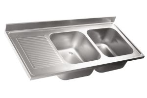 LV6038 Top lavello in acciaio inox AISI 304 dim.2000X600  2 vasche 1 sgocciolatoio SXL