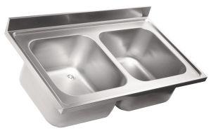 LV7029 Top lavello in acciaio inox AISI 304 dim.1500X700 2 vasche