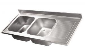 LV7038 Top lavello in acciaio inox AISI 304 dim.1600X700 2 vasche 500x500 1 sgocciolatoio DX