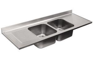 LV7064 Top lavello in acciaio inox AISI 304 dim.2400X700 2 vasche 500x500 2 sgocciolatoi