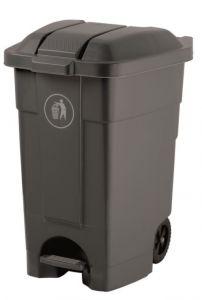 Mobile plastic pedal bin Grey 70 liters (multiple 3 pcs)