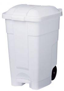 T102032 Mobile plastic pedal bin White 70 liters (multiple 3 pcs)