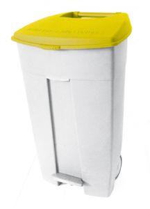 T102036 Contenitore mobile a pedale in plastica bianco-giallo 120 litri (confezione da 3 pezzi)