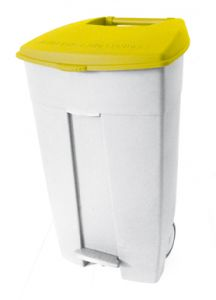 T102036 Mobile plastic pedal bin White Yellow 120 liters (multiple 3 pcs)