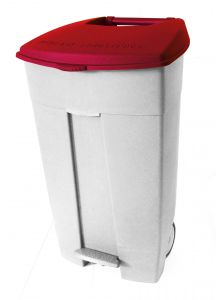 T102037 Mobile plastic pedal bin White Red 120 liters (Pack of 3 pieces)
