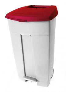 T102037 Mobile plastic pedal bin White Red 120 liters (multiple 3 pcs)