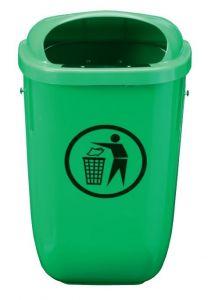 T102050 Green Polyethylene Litter bin 50 liters for outdoor areas