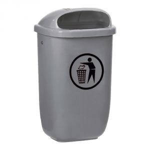 T102051 Grey Polyethylene Litter bin 50 liters for outdoor areas