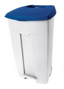 T102535 Mobile plastic pedal bin White - blue 120 liters