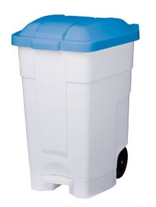 T102545 Mobile plastic pedal bin White Blue 70 liters