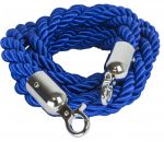 T106320 Blue rope 2 chrome fixing hooks for crowd control post 1,5 meters