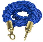 T106330 Blue rope 2 gold color fixing hooks for crowd control post 1,5 meters