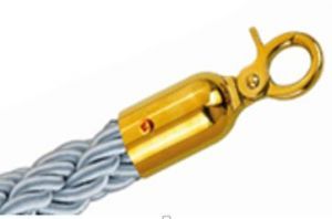 T106330 Grey rope with 2 gold color steel fixing hooks for crowd control post 1,5 meters