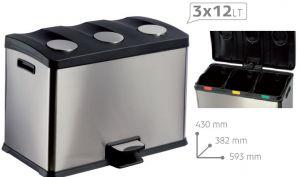 T106500 Recycling pedal bin TRIPLE 3x12 liters